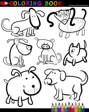 Coloring Book or Page Cartoon Illustration of Funny Dogs and Puppies for Children Stock Vector - 15590000