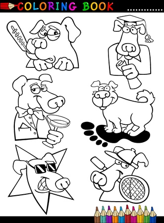 sport cartoon: Coloring Book or Page Cartoon Illustration of Funny Dogs and Puppies for Children Illustration