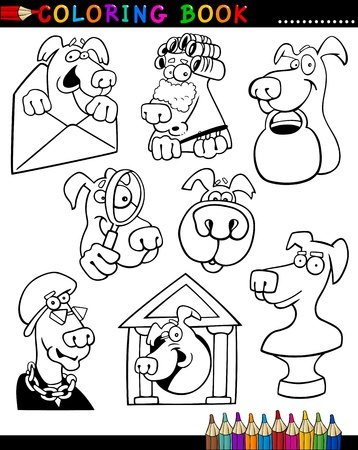 Coloring Book or Page Cartoon Illustration of Funny Dogs and Puppies for Children Stock Vector - 15589986