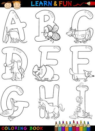 aardvark: Cartoon Alphabet Coloring Book or Page Set with Funny Animals for Children Education and Fun