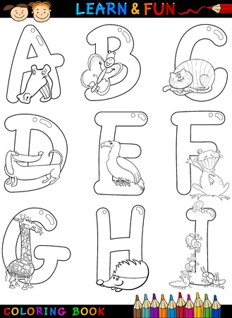 Cartoon Alphabet Coloring Book or Page Set with Funny Animals for Children Education and Fun