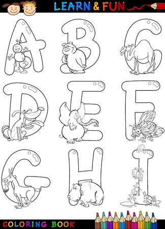 coloring book pages: Cartoon Alphabet Coloring Book or Page Set with Funny Animals for Children Education and Fun