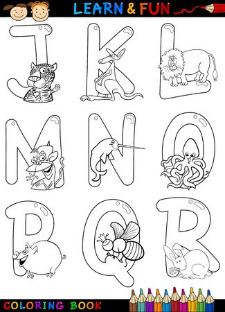 alphabet kids: Cartoon Alphabet Coloring Book or Page Set with Funny Animals for Children Education and Fun