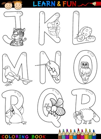 Cartoon Alphabet Coloring Book or Page Set with Funny Animals for Children Education and Fun Vector