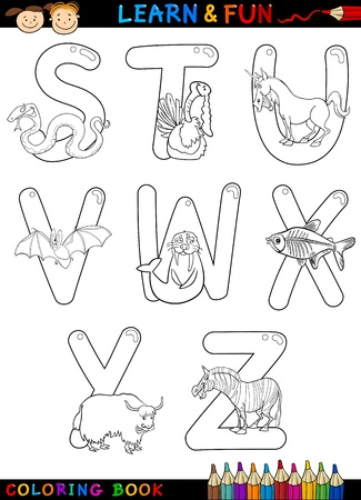 animals x ray: Cartoon Alphabet Coloring Book or Page Set with Funny Animals for Children Education and Fun