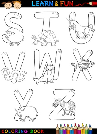 unicorn fish: Cartoon Alphabet Coloring Book or Page Set with Funny Animals for Children Education and Fun