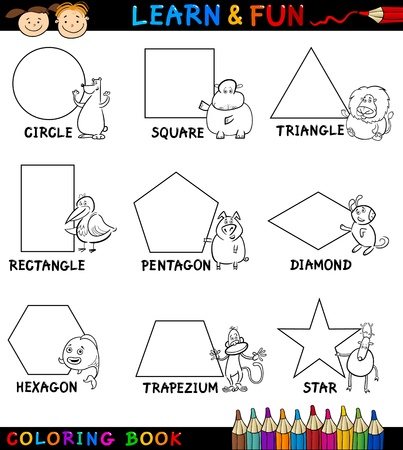 shapes: Cartoon Coloring Book or Page Illustration of Basic Geometric Shapes with Captions and Animals Comic Characters for Children Education