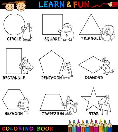 forme: Coloring Book Cartoon Illustration page ou de formes géométriques de base avec légendes et personnages de bande dessinée Animaux pour l'éducation des enfants