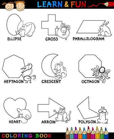 parallelogram: Cartoon Coloring Book Illustration p�gina o de formas geom�tricas b�sicas con las leyendas y los animales personajes de c�mic para Educaci�n Infantil