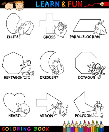 basic shapes: Cartoon Coloring Book or Page Illustration of Basic Geometric Shapes with Captions and Animals Comic Characters for Children Education
