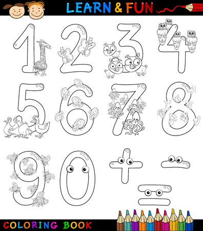 coloring book page: Cartoon Coloring Book or Page Illustration of Numbers Signs from Zero to Nine with Animals Characters for Children Education and Fun