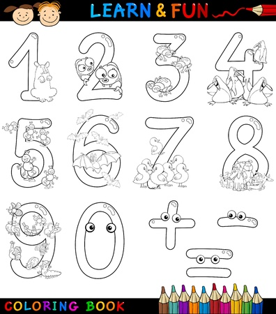 digits: Cartoon Coloring Book or Page Illustration of Numbers Signs from Zero to Nine with Animals Characters for Children Education and Fun
