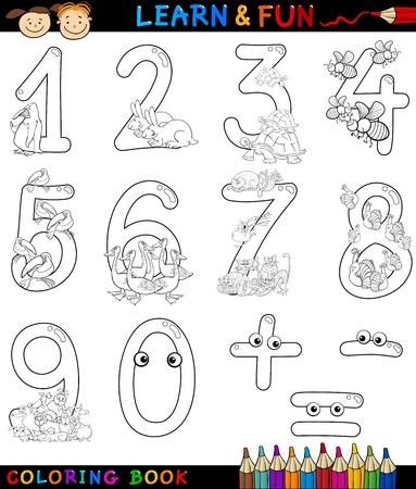 sign equals: Cartoon Coloring Book or Page Illustration of Numbers Signs from Zero to Nine with Animals Characters for Children Education and Fun