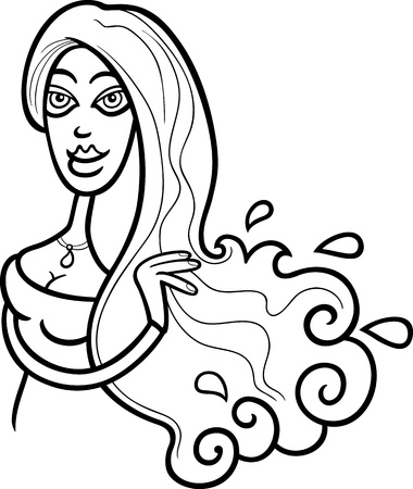 Illustration of Beautiful Woman Cartoon Character or Aquarius Horoscope Zodiac Sign for coloring Stock Vector - 15805605