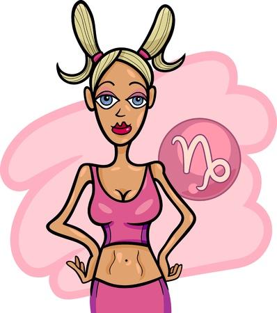 capricornio: Ilustración del personaje de dibujos animados hermosa mujer y Signo zodiacal Capricornio Horóscopo