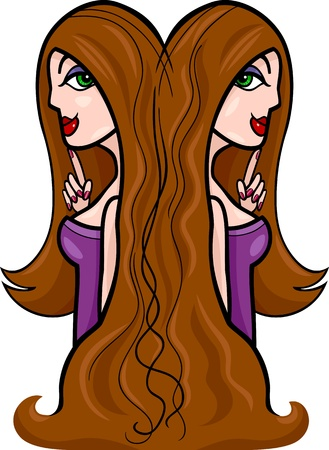 fortune telling: Illustration of Beautiful Twins Women Cartoon Characters or Gemini Horoscope Zodiac Sign