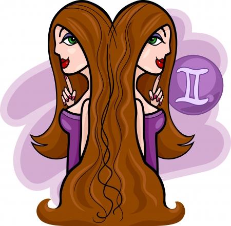 gemini zodiac: Illustration of Beautiful Twins Women Cartoon Characters and Gemini Horoscope Zodiac Sign