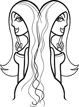 hair clip: Illustration of Beautiful Twins Women Cartoon Characters or Gemini Horoscope Zodiac Sign for coloring