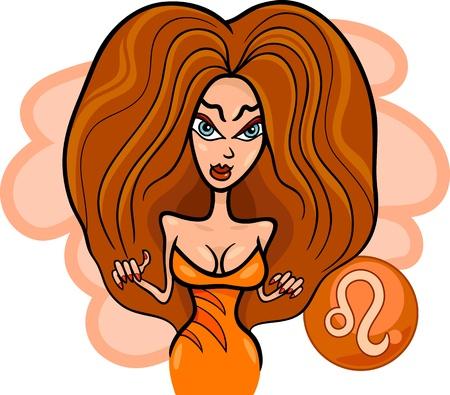 Illustration of Beautiful Woman Cartoon Character and Leo Horoscope Zodiac Sign Stock Vector - 15805574