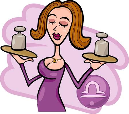 Ilustración del personaje de dibujos animados hermosa mujer con los pesos y el signo zodiacal Libra Horóscopo Ilustración de vector