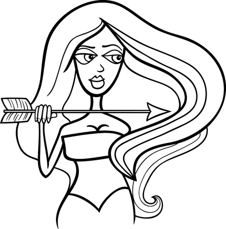 Illustration of Beautiful Woman Cartoon Character with Arrow or Sagittarius Horoscope Zodiac Sign for coloring Stock Vector - 15805582