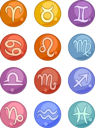 zodiacal sign: Vector Illustration of Zodiac Horoscope Signs Icons Set