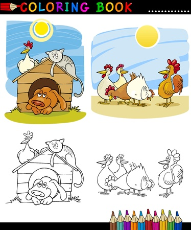 Coloring Book or Page Cartoon Illustration of Funny Farm and Companion Animals for Children Education Vector