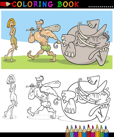Coloring Book or Page Cartoon Illustration of Funny Cavemen Family Couple Stock Vector - 15924254