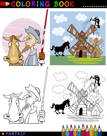 Coloring Book or Page Cartoon Illustration of Don Quixote and his Horse Fairytale Characters Vector