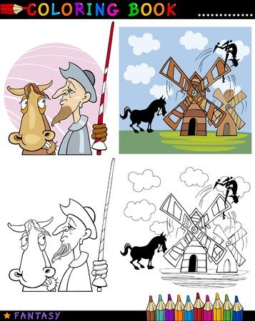 don quijote: Libro para colorear o ilustración de dibujos animados Página de Don Quijote y sus personajes del cuento de hadas del caballo