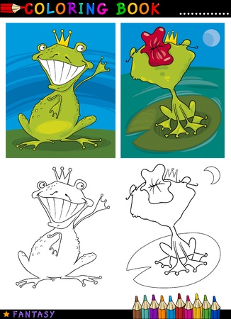 Coloring Book or Page Cartoon Illustration of Frog Prince Fairytale Characters Vector