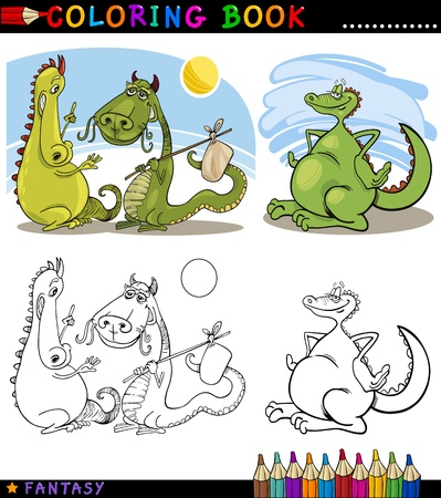 two page: Coloring Book or Page Cartoon Illustration of Dragons Fairytale Characters