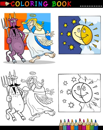 Coloring Book or Page Cartoon Illustration of Devil and Angel with Sun and Moon Characters Vector