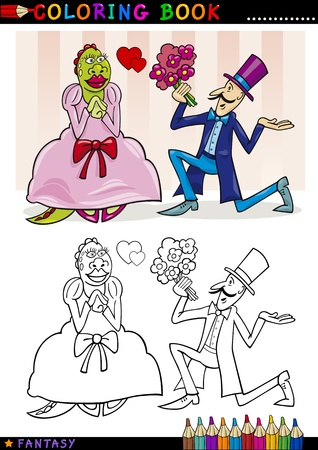 Coloring Book or Page Cartoon Illustration of Man making a Proposal to Monster Lady Fairytale Characters Vector