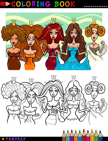 Coloring Book or Page Cartoon Illustration of Five Princesses or Queens Fairytale Characters Vector