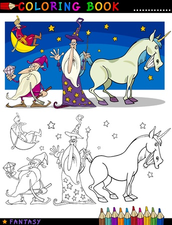 fairytale character: Coloring Book or Page Cartoon Illustration of Wizard and Dwarf and Unicorn Fairytale Characters