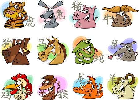horóscopo: Ilustra��o dos desenhos animados de animais do hor�scopo chin�s Sinais Conjunto Completo Ilustração