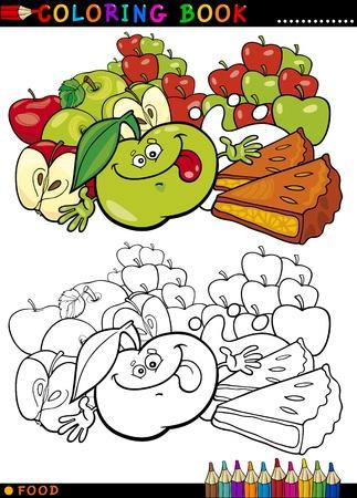 dibujos para colorear: Libro para colorear o ilustraci�n de dibujos animados P�gina de Humor Personajes Alimentos Manzanas y tortas circulares para Educaci�n Infantil