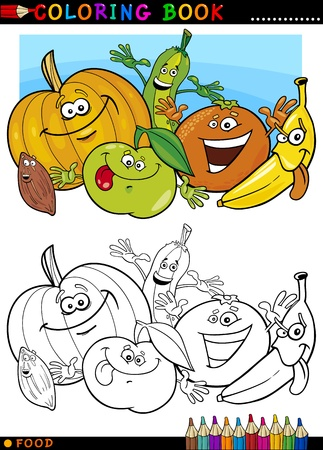 coloring book page: Coloring Book or Page Cartoon Illustration of Funny Food Characters Fruits and Vegetables for Children Education Illustration
