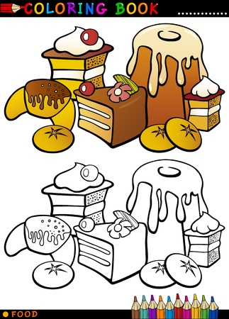 Coloring Book or Page Cartoon Illustration of Sweet Food like Cakes and Cookies and Buns for Children Education Vector