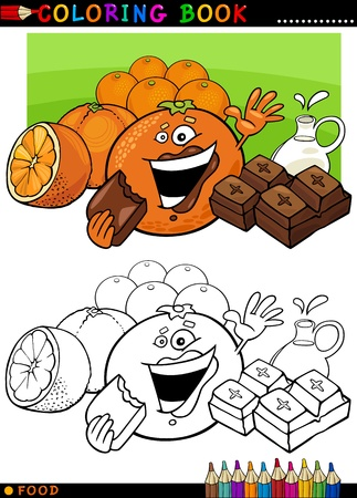 Coloring Book or Page Cartoon Illustration of Funny Food Characters Oranges and Chocolate Pieces for Children Education Vector