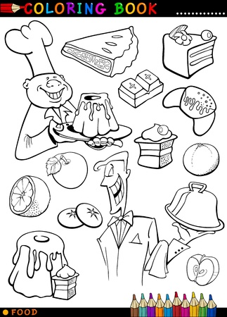master page: Coloring Book or Page Cartoon Illustration of Sweet Food like Cakes and Cookies and Buns with Cook and Waiter for Children Education