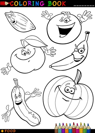 funny food: Coloring Book or Page Cartoon Illustration of Funny Food Characters Fruits and Vegetables for Children Education Illustration