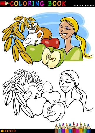 Coloring Book or Page Cartoon Illustration of Healthy Breakfast Food like Fruits and Milk and Oat for Children Education Vector