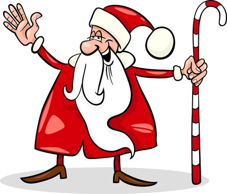Cartoon Illustration of Funny Santa Claus or Papa Noel with Christmas Cane Vector