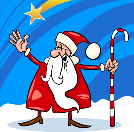 Cartoon Illustration of Funny Santa Claus or Papa Noel with Cane against Sky and Christmas Star Vector