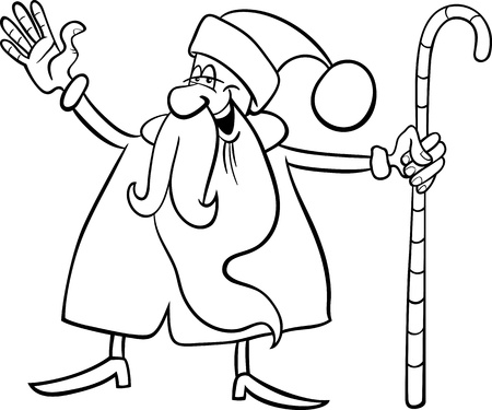 Cartoon Illustration of Funny Santa Claus or Papa Noel with Christmas Cane for Coloring Book or Page Stock Vector - 16002020