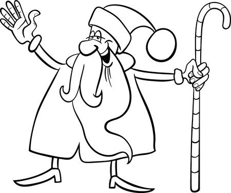 papa noel navidad: Ilustraci�n de dibujos animados de Funny Santa Claus o Pap� Noel con la Navidad del bast�n de libro para colorear o p�gina