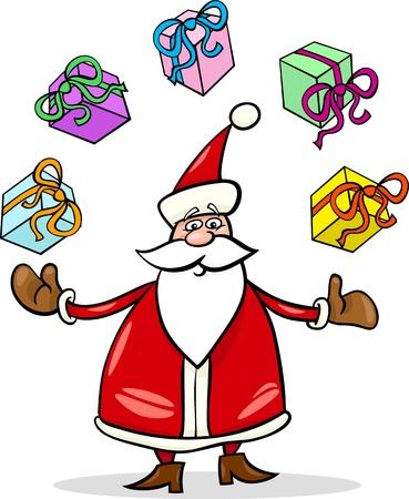 papa noel navidad: Ilustraci�n de dibujos animados Funny Santa Claus o Pap� Noel malabares Regalos de Navidad y regalos Vectores
