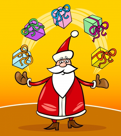 Cartoon Illustration of Funny Santa Claus or Papa Noel juggling Christmas Presents or Gifts Vector